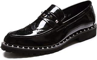 [ジョイジョイ] ドレスシューズ ビジネス メンズ スリッポン スタッズ 黒 ウィングチップ 派手ローファー 厚底 おしゃれ エナメル 革靴 カジュアル ヒールアップ 光沢 滑り止め 蒸れない 結婚式 メダリオン ブラック