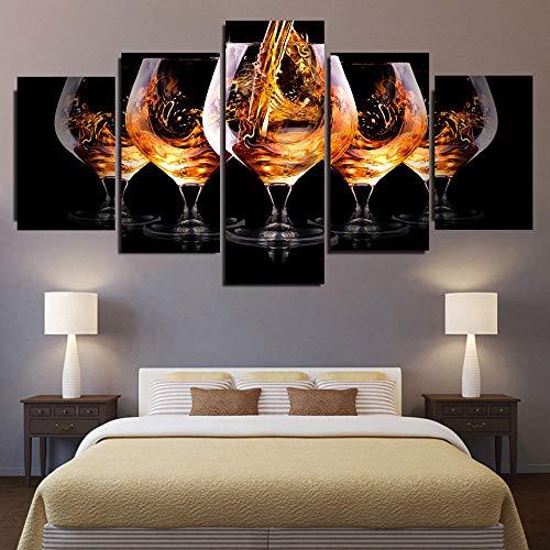 WKHRD 5 Panels Modernes Weinglas Bild Leinwand Malerei Becher Postres und Drucke für Wohnzimmer Küche Weingut Dekor Kunst | 20x40 20x50 20x60cm (kein Rahmen)