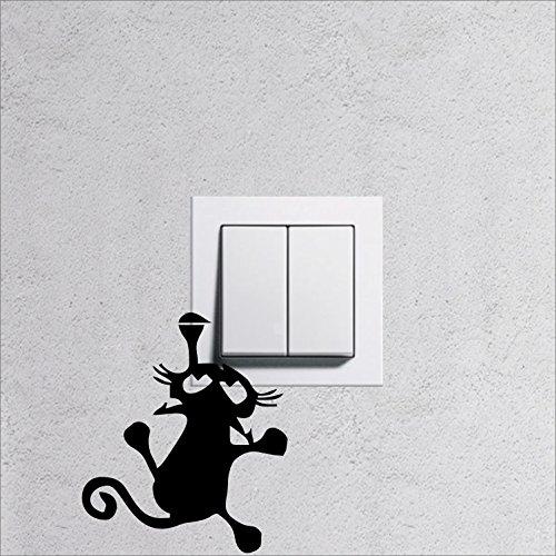 """Wandtattoo für Steckdose / Lichtschalter """" Katze 7 """" viele Farben zu Auswahl, Wallart für Steckdosen Licht Wohnnzimmer Kinderzimmer, Lichtschalter Aufkleber Tattoo Sticker"""