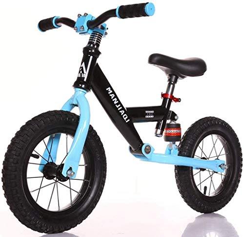 JIAO Bicicleta De Equilibrio Al Aire Libre con Amortiguador, Pezonesa Caminando Entrenamiento Bicicleta Scooter, Niños Y Caminantes(Color:Azul)