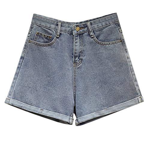 GCX Summer New Denim Shorts Female Hot Pants hoge taille was dun Koreaanse Grote Maat Jeans wijde pijpen broek Sexy (Color : Blue, Size : XXL)