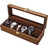 LOSKORIN Watch Box, Executive 6 Slots Watch Case with Valet, Glass Topped Wooden Watch Display Case...