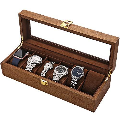 LOSKORIN Uhrenbox 6 Uhren Uhrenaufbewahrung Uhrenkasten Holz mit Glasfenster Geschenk für Herrn Dame