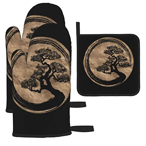 Zhark 3PCS Heat Resistant Oven Mitts and Pot Holders,Soft Lining with Non-Slip Surface Kitchen Gloves for Safe BBQ Cooking Baking Grilling,Enso Zen Circle And Bonsai Tree Gold