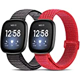 Relting Nylon Sports Loop Bands Compatible with Fitbit Versa 3/sense, Soft Adjustable Breathable Watch Straps Comfortable Replacement Wristband for Women Men