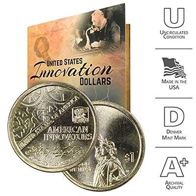 2018 D American Innovation Dollar Coin Set with Custom Folder - George Washington Denver US Mint $1 Dollar Coin from American Innovators Collection Uncirculated
