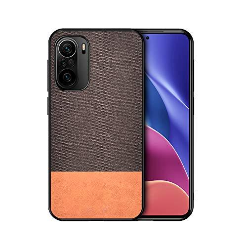 GOGME Hülle für Xiaomi Poco F3 / Mi 11i 5G Hülle, [ TPU Rahmen ] Shockproof Handyhülle, PC + Stoff - Backcover Hülle Cover Canvas Design Schutzhülle. Braun