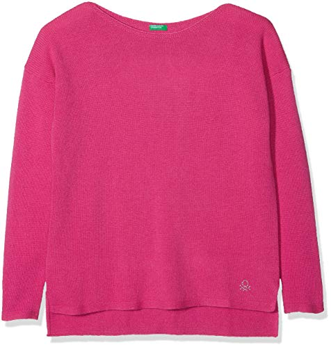 United Colors of Benetton United Colors of Benetton Mädchen Sweater L/S Pullover, Rosa (Cyclamen 06c), 134 (Herstellergröße: L)