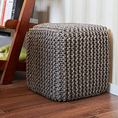 "MOTINI 100% Wool Cube Pouf Ottoman Foot Rest for Living Room Boho, Dark Grey, 18"" x 18"" x 19"""