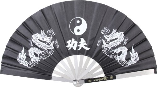 BladesUSA 2510CBK Kung Fu Fighting Fan Metal Frame Black/White 143/4Inch Length 271/4Inch Open