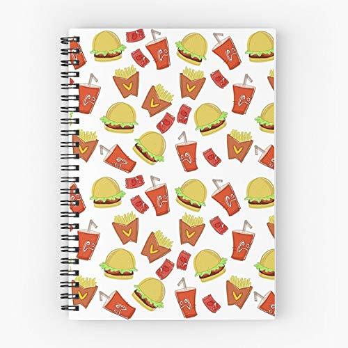 Sauce Tomato Cola Food Burger Fries Chips Coke Fast Nettes Schul-Fünf-Sterne-Spiral-Notizbuch mit haltbarem Druck