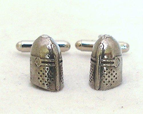 Boutons de Manchette Casque de Chevalier Médiéval (avec Boîte à Cadeau)
