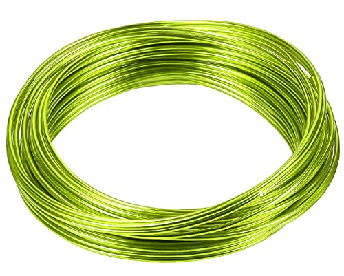 mumbi Alambre para manualidades (10 m, 2 mm), color verde lima, Aluminio, 2mm