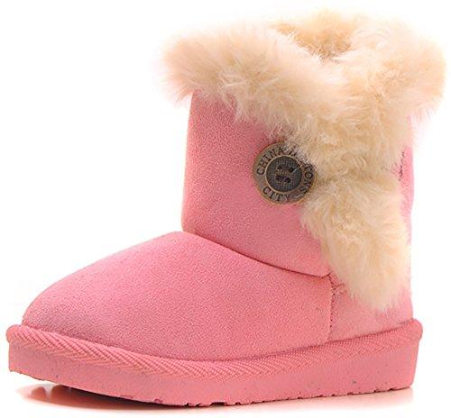 Poppin Kicks Girls Bailey Button Snow Boots Kids Winter Faux Fur Flat Shoes Pink 13 M US Little Kid