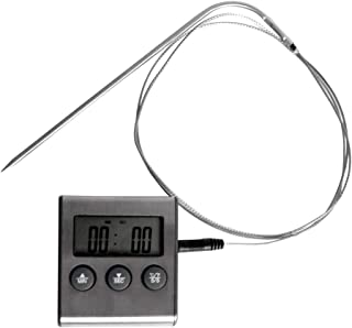 Projects Kitchen' - Termómetro para Carne (Uso Universal, Pantalla Digital, Temporizador, función Atril e imán, sonda de Temperatura, Incluye Pilas)