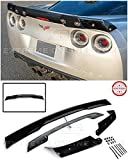 Innovative Auto Creation for 2005-2013 Chevrolet Corvette C6 | C6.5 Style Rear Trunk Lid Wing Spoiler WickerBill with Plug & Play Third Brake Light (Glossy Black with Smoke Tinted WickerBill)