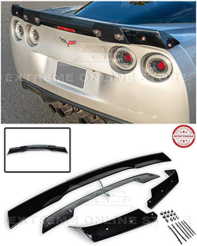 Innovative Auto Creation for 2005-2013 Chevrolet Corvette C6   C6.5 Style Rear Trunk Lid Wing Spoiler WickerBill with Plug & Play Third Brake Light (Glossy Black with Smoke Tinted WickerBill)