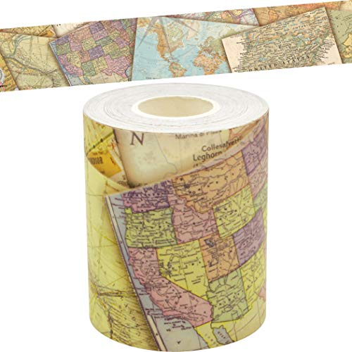 Travel The Map Straight Rolled Border Trim