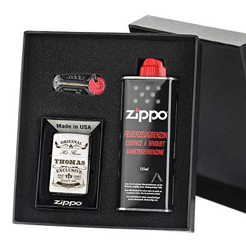 polar-effekt Zippo-Store Zippo Sturmfeuerzeug Geschenk-Set - 1 Flasche Benzin (125ml) - 6 Feuersteine - mit Gravur - inkl. Geschenketui - Wind- und Wetterfest Motiv Original-Exklusive