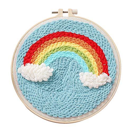 Fourseasons - Kit de herramientas de bordado para hacer punzón de lana y bordar a mano con aguja, adorno hecho a mano para decoración del hogar