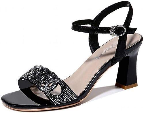 LTN Ltd - - - sandals Sandales à Talons Hauts pour Femmes, Plateforme Féminine, Chaussures D'été, Noir, 35 1f2