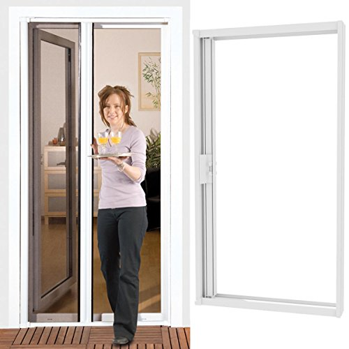Power-Preise24 Insektenschutz Rollo Tür smartLINE 150 x 220 cm Insektenschutztür Alurahmen in Weiß mit Fliegengitter aus Fiberglas Gewebe in Anthrazit Insektenschutzrollo für Türen