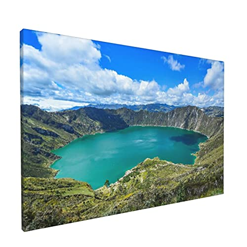 PATINISA Cuadro en Lienzo,Quilotoa Ecuador Lagoon Volcano Turquoise Wate,Impresión Artística Imagen Gráfica Decoracion de Pared