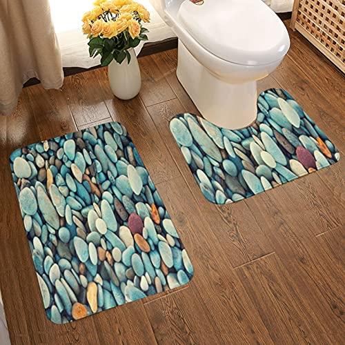 GUVICINIR Juego de 2 Alfombrillas de baño Antideslizantes Alfombra de baño,Hermosa Piedra Naturaleza Abstracta Francia Guijarros Retro Grunge Rock Color Vintage Grava,alfombras y Alfombrillas