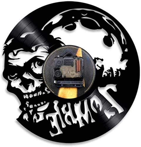 OH Reloj de Pared Zombie Wall Clock Horror Wall Art Zombie Infection Vintage Vinyl Record Reloj de Pared Zombie Mente Halloween Hogar/No Led