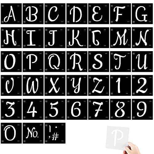 38 Pieces 5 Inch Letter Stencils Reusable Plastic Letter Number Templates Alphabet Art Craft Stencils Symbol Numbers Craft Stencils Interlocking Stencil Kit for Painting on Wood and DIY Art Project