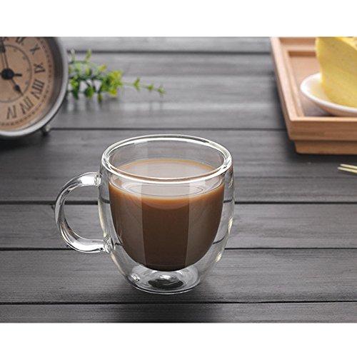 æ— 2 tazas de café de cristal de doble pared con asa aislada para café y café transparente