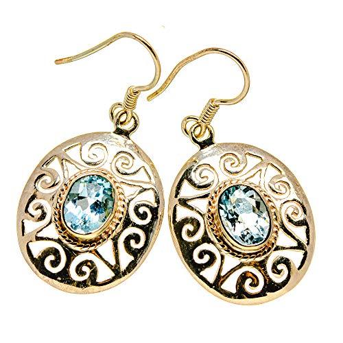 Ana Silver Co Blue Topaz Earrings 1 1/2' (925 Sterling Silver)