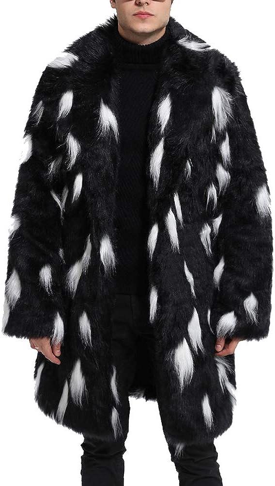 Shunht Men's Luxury Warm Thick Faux Fur Long Coat Overcoat