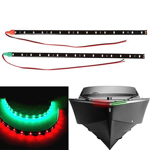 Velidy Lot de 2 bandes lumineuses de navigation LED rouges et vertes de 30,5 cm pour voiture, bateau, décoration, lampes flexibles à 15 LED