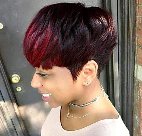 SEXYY Attrayant Pixie Short Straight Wigs Perruques de Mode Mixte Noir et Rouge Femme Perruque afro Nature,Afro résistant à la chaleur Perruque pleine crépée