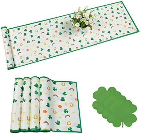 Alishomtll 3 Pcs St Patrick s Day Table Runner Sets with 4 Placemats Shamrock Table Runner Set product image