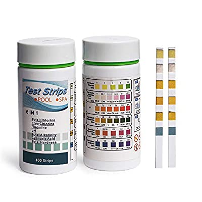 K-SKIN Spa Test Strips, 6 in 1 Pool Water PH Test Strips Chemical Tester for Hot Tubs, Swimming Pool, Spa Water Chemistry Test Strip 100 Count, Water Hardness Test Kit Alkalinity Chlorine Testing