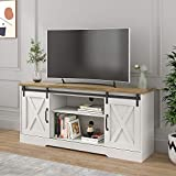 POVISON TV Stand, Farmhouse Entertainment Center with Storage, Television Stands for TVs Up to 65', Wood TV Console Storage Cabinet for Living Room, White & Rustic