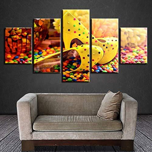 GWFVA Canvas 5 Stuks Kleurrijke Hoge Snoep Chocolade Hakken foto Muur Art Modulaire Schilderij Poster Voor Thuis Woonkamer Decor, B, 20X35X220X45X220X55X1