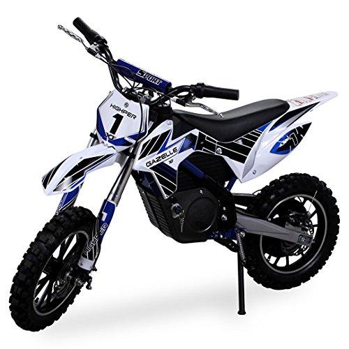 Kinder Mini Crossbike Gazelle ELEKTRO 500 WATT inklusive verstärkter Gabel Dirt Bike Dirtbike Pocket Cross (Blau)