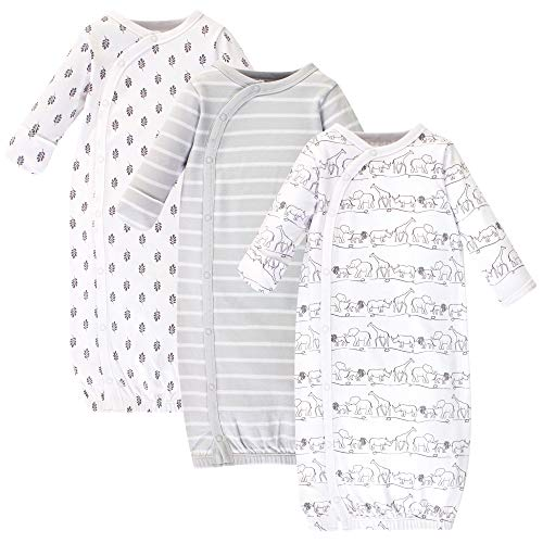 Touched by Nature unisex baby Organic Cotton Kimono Nightgown, Safari, 0-6 Months US