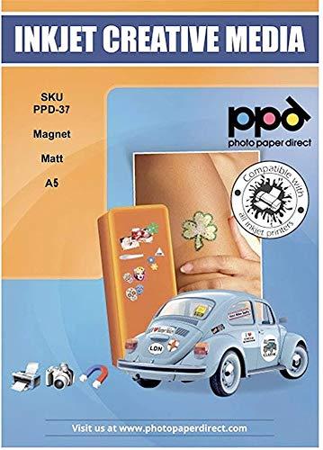 PPD DIN A5 Inkjet Magnet Fotopapier (Magnetpapier) für Tintenstrahldrucker Matt DIN A5 x 5 Blatt PPD037-5