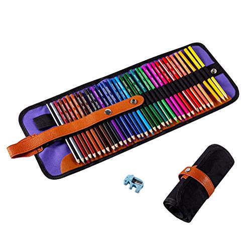 ARZASGO 36 Colored Pencils Set, Artist Coloring Pencils for Adult Coloring Books, Artist Sketch, Premier Drawing Pencils with Canvas Roll-up Pouch Bag and Pencil Sharpener
