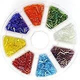 3200 perle, bugle di rocaille Tubo in vetro, colore trasparente mescolata, colore: multicolore