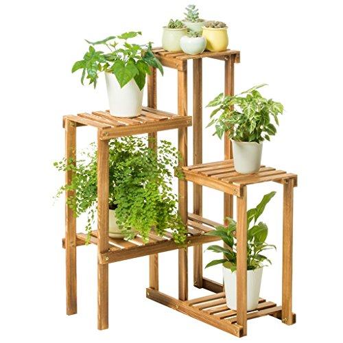 MMM@ Balcon solide bois fleur stand intérieur balcon extérieur coin étagère en bois multi-fonction 5 couche fleur étagère