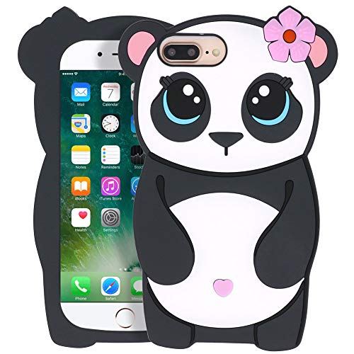 """YONOCOSTA Cute iPhone 7 Plus Case, iPhone 8 Plus Cases, Funny 3D Cartoon Animals Panda Girl Soft Silicone Full Protection Shockproof Back Case Cover for iPhone 7 Plus/iPhone 8 Plus (5.5"""" Inch)"""