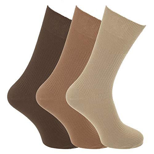 Calcetines para diabeticos sin elástico Modelo Big Foot hombre caballero (3 pares) (39-45 EU/Tonos Marrón)