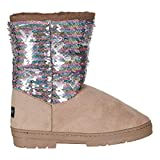 bebe Girls' Big Kid Slip On Tall Riding Boots with Lace Up Back, Buckle Straps and Rhinestone Logo Embellishment Taupe Size 4