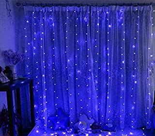 MODOAO 304 LED Window Curtain String Light, 9.8ft x 9.8ft, 8 Modes Setting for Wedding Christmas Girls Bedroom Outdoor Indoor Wall Decoration Party Home Garden (Blue)