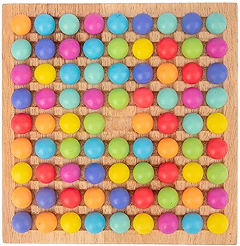Holz Clip Beads Brettspiel, Montessori Educational Holzspielzeug - Clip Beads Spiel Puzzle Board - Holz Clip Beads Regenbogenspielzeug - Matching Game Memory Toy - Puzzle Brettspiel